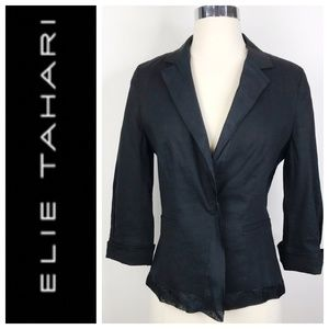 Elie Tahari Black Linen Blend Silk Trim Blazer